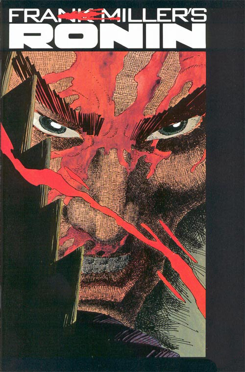 Cover to Frank Miller's Ronin Book Four by Frank Miller|The ronin and Casey seem to have been sent back to ancient Japan, where they encounter slaves of Agat. In the ensuing battle, the ronin's mechanical arms and legs are removed and ancient Japan is exposed as an illusion, the slaves of Agat actually robots sent by Taggart to retrieve the ronin and demonstrate for Sawa the effectiveness of the weapons. Virgo, controlling the robots, starts a mental attack on the defenseless ronin, bringing forward Billy's repressed memory, one where he murdered a local bully earning him his mother's revulsion. Billy, enraged, regains his limbs and destroys his enemies, restoring the illusion of ancient Japan, until a horde of flying demons/robots subdue him and blast the subway tunnel where Casey had been trying to make her escape.|Ronin|juik