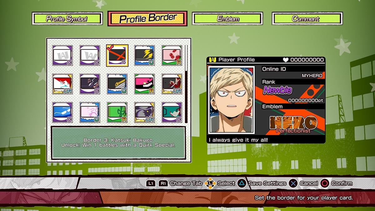Customização em My Hero One's Justice (Imagem Divulgação / Bandai Namco)