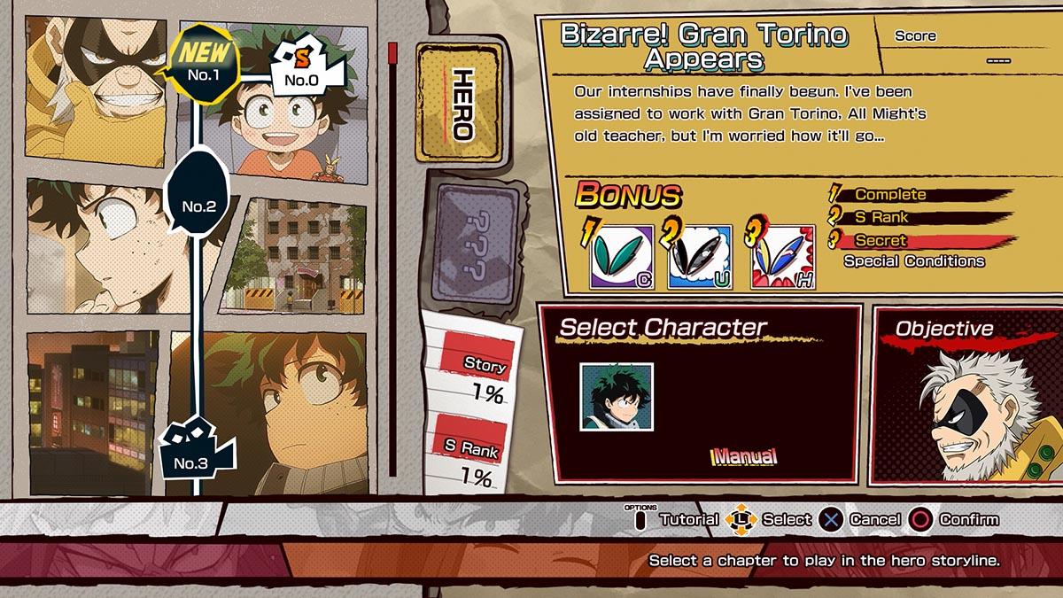 Menu em My Hero One's Justice (Imagem Divulgação / Bandai Namco)
