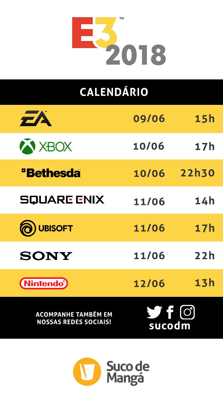 E3 Calendario.Calendario E3 2018 Suco Suco De Manga
