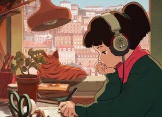 garota musica fones